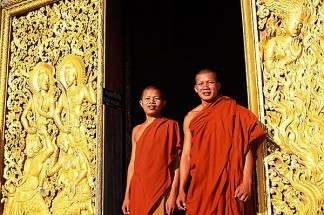 Laos, Luang Prabang, Monks, Wat Xieng Thong