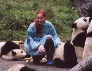 Nora at the Panda Reserve, china