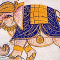 India, Rajasthan, Elephant wall painting